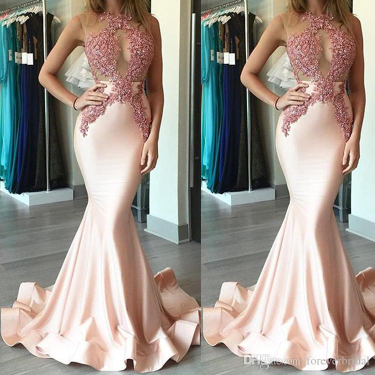 Sexy Illusion Evening Dresses Lace Appliques Sequins Pink Mermaid Long Sheer Backless Formal Party Prom Gowns