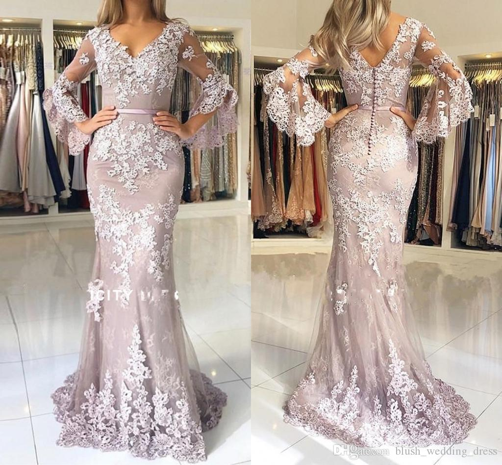 2020 Custom Made Plus Size Mermaid Long Sleeves Evening Dress Lace Applque Red Carpet Holiday Women Wear Formal Party Prom Gown