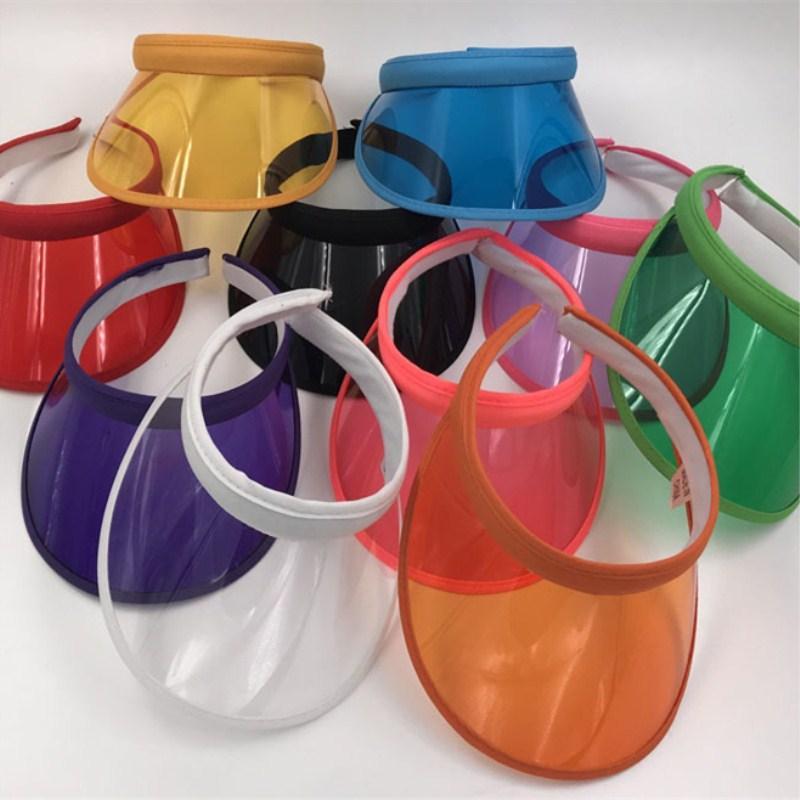 Unisex Summer Clear Plastic PVC Empty Top Hat Clip On Sun Visor Hat UV Protection Beach Caps 10pcs/lot
