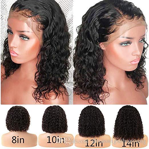 13x4 Pelucas de cabello humano frontal de encaje rizado con pelo de bebé Nudos blanqueados Remy 360 Pelucas frontales de encaje pre-desplumadas 130% de densidad