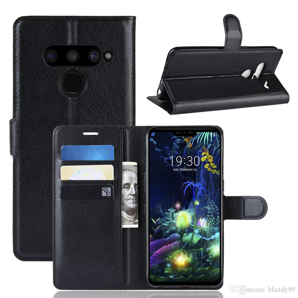 lychee wallet leather PU TPU phone Case For LG G7 fit Q7 V50 V40 ThinQ 5G X Power 3