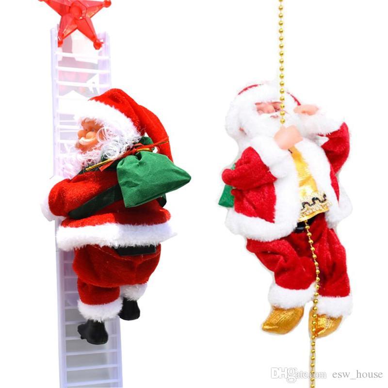 Christmas Electric Singing Santa Claus Climbing Ladder Doll Xmas Party Decor UK