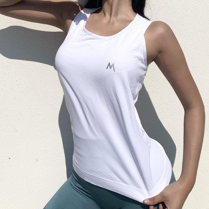 Wmuncc Summer Fitness Sports Tops Women I-back Loose Sleeveless Gym Vest Breathable Quick-dry Workout Training Seamless Shirts T200623