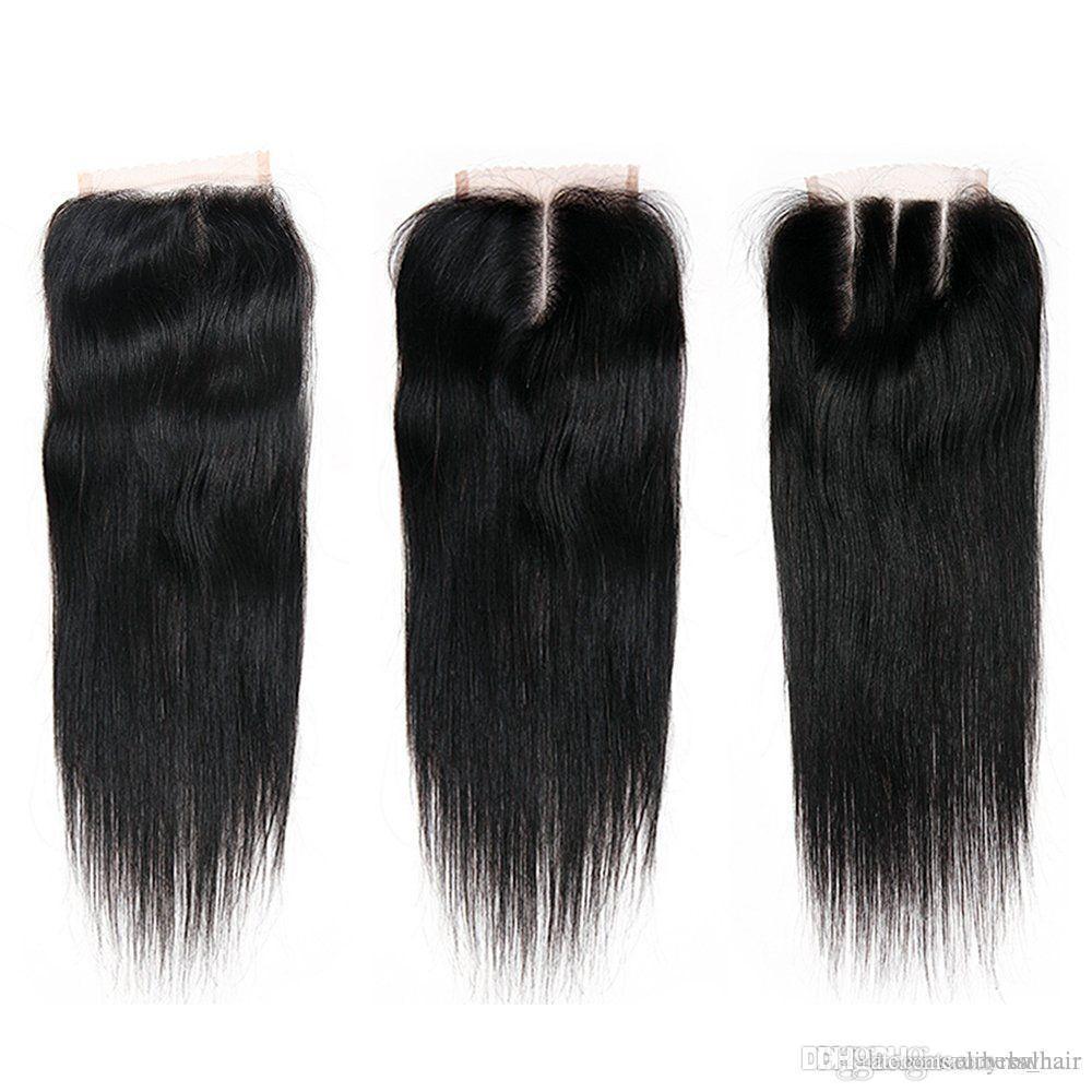 Бразильская Virgin человеческих волос 4 * 4 шнуровке с младенцем Extensions волос естественный цвет, 3шт один лот, бесплатная доставка