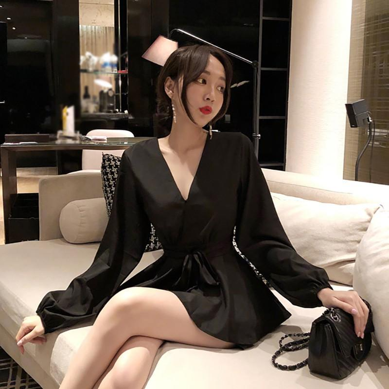 Casual Long-sleeved High-waist Playsuits Sexy Deep V Women Playsuits Fashion Loose Jumpsuit
