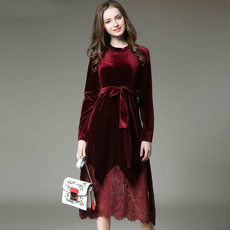 2017 Nuovo Autunno Inverno Vestito Da Donna Plus Size Pizzo di velluto Cuciture Lungo Vintage Elegante Abito Elbise Ufficio Vestito Casuale T5190617