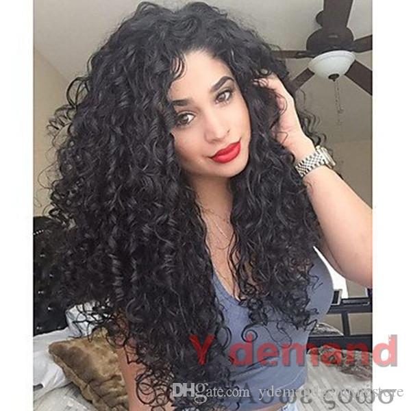 Sintético afro peluca largo rizado rizado pelucas Negro peluca de pelo afroamericano barato pelucas para mujeres