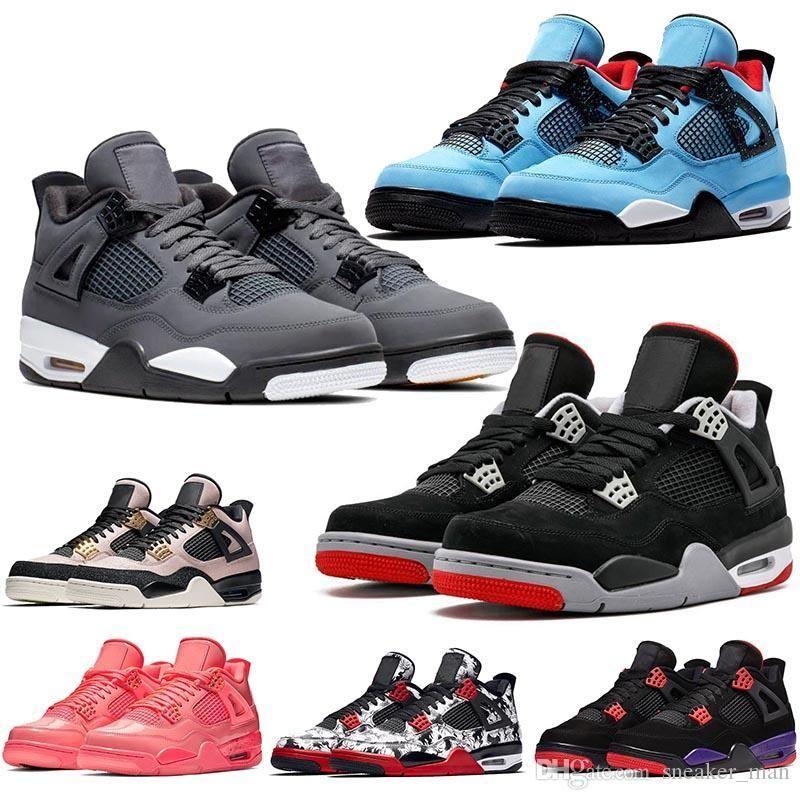 Jumpman 4s Scarpe IV Mens Travis Scott raffreddano i pattini grigi 4 Nuovo Bred 4 Raptors Formatori Hot Punch What The Womens Sneakers 5-13