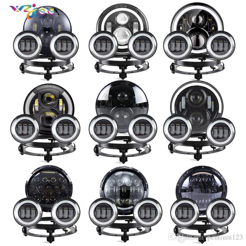 """7 """"Yol Far için LED Far, Softail, Ultra Sınırlı Electra Glide w / 4-1 / 2"""" Spot Lamba Sis Geçen Işıklar Montaj Braketi"""