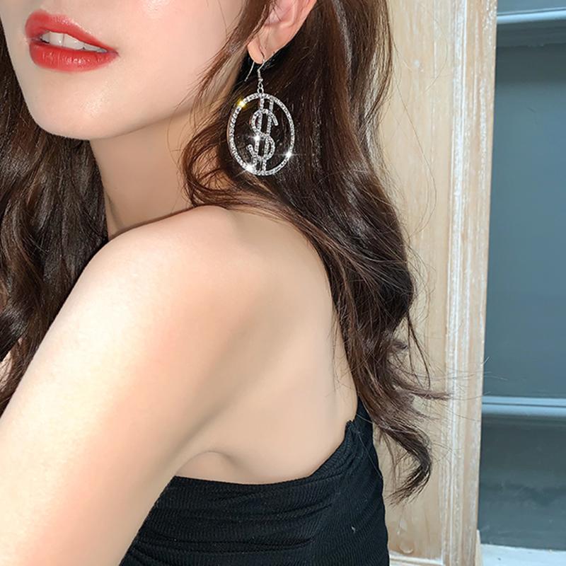 AENSOA Fashion New Minimalist Crytal Round Drop Earrings For Women 2020 Money Sign $ US Dollar Rhinestone Earring Jewelry