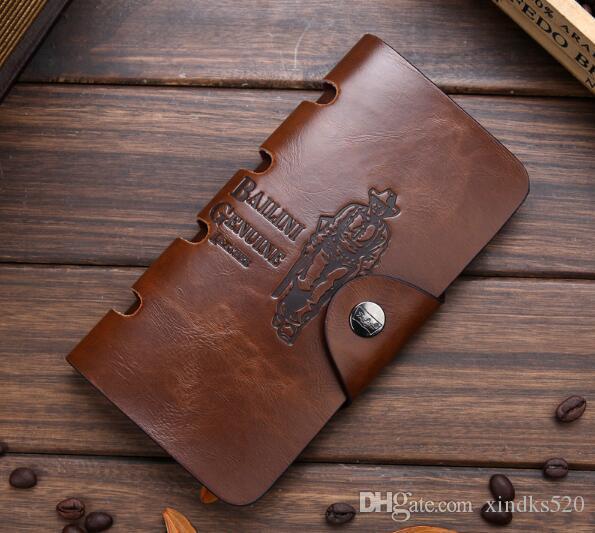 2019 Dikey uzun deri cüzdan Retro Hunter Yeni Deri Cüzdan erkek cüzdan uzun çanta
