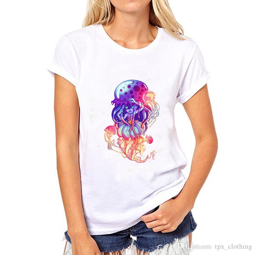 Jellyfish t shirt Medusa girl short sleeve tops Jelly nice unisex fastness tees Colorfast print clothing Pure color modal tshirt