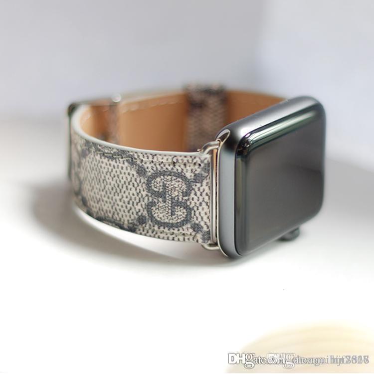 ل apple watch1234 أزياء والجلود العلامة التجارية الأوروبية والأمريكية ل iwatch1 / 2/3/4 38M / 42MM حزام