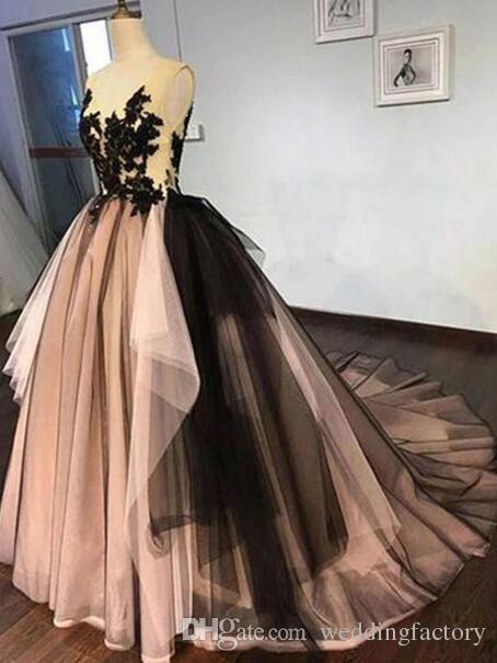 Arabic Multi Colors Evening Dresses Blush Pink Black Tulle Lace Appliques V Neck Sleeveless Open Back Lace-up Asymmetrical Prom Gowns