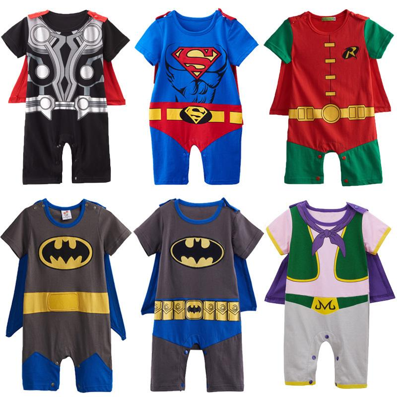 Baby Boys Robin Rompers Costume Infant Superhero Suit For Boy Party Majin Buu Jumpsuit Short Sleeve With Cape Size 0-24m J190525