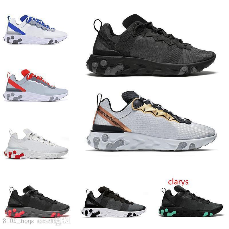 2020 React Element 55 Men Women Running Shoes Triple Black Metallic Gold Solar Red GAME ROYAL Fashion Mens Trainers Sports Sneakers From Lawe, $50.26