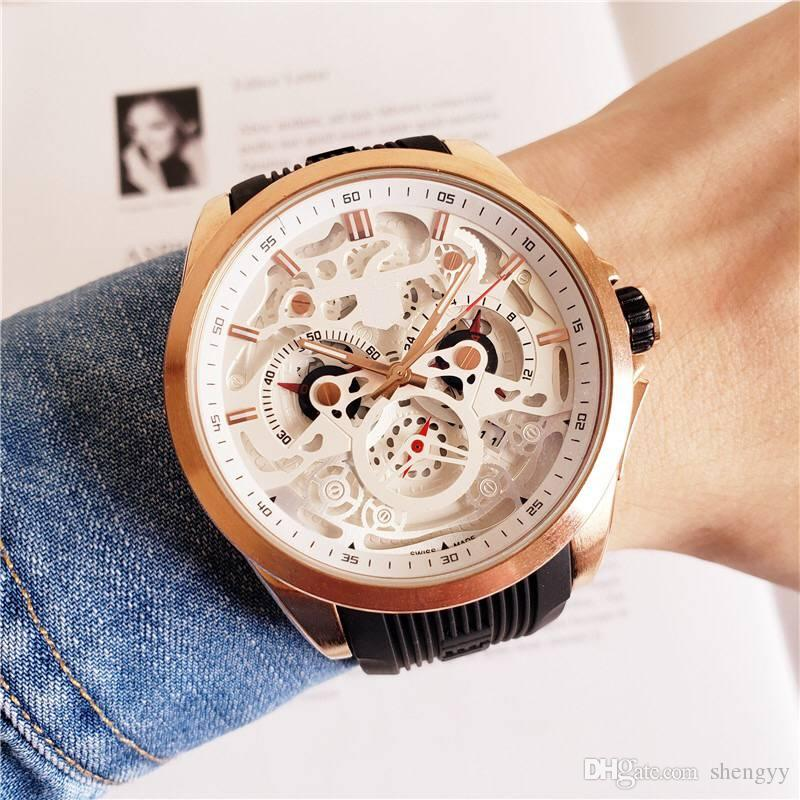 Relojes Hombre 2020 Yeni Sport Chronograph Mens Saatler Top Marka Casual Kauçuk Su geçirmez tarihi Kuvars İzle Man Saat Montre homme Relogio