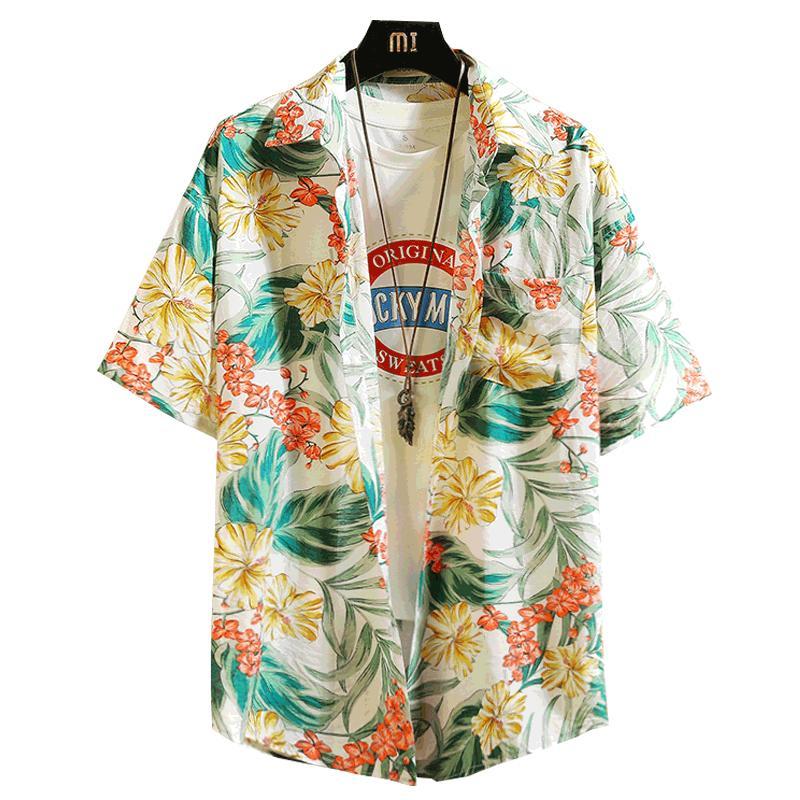 Mens-beiläufige Hemd-Kurzschluss-Hülsen-loser Big Size Parklees tropischer Druck-Mann-Hemd Hawaii-Retro Blumen Men Plus Size HH50CS