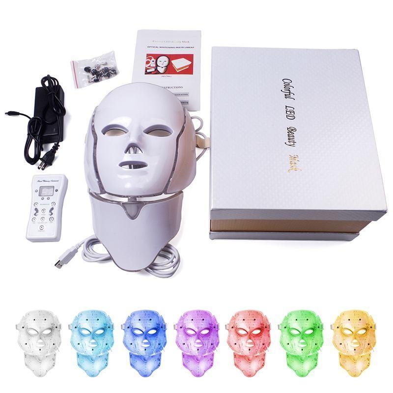 DHL الشحن 7 ألوان ضوء LED قناع الوجه مع الرقبة علاج الجلد تجديد العناية بالوجه الجمال مكافحة حب الشباب العلاج التبييض صك