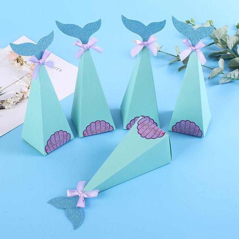 Compre Little Mermaid Gift Boxes Sweet Paper Candy Box Sirena Decoraciones Para Fiestas De Cumpleaños Kids Favor Boxes Para Bodas A 2413 Del