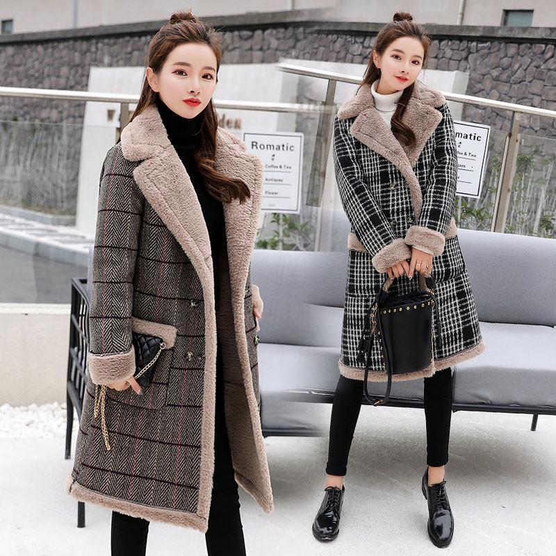 Casual Kalın Pamuk Kadın Kış Sahte Kuzular Yün Coat 2019 Moda Fanila Kadın Sıcak yün uzun Coats T191015 karıştırır