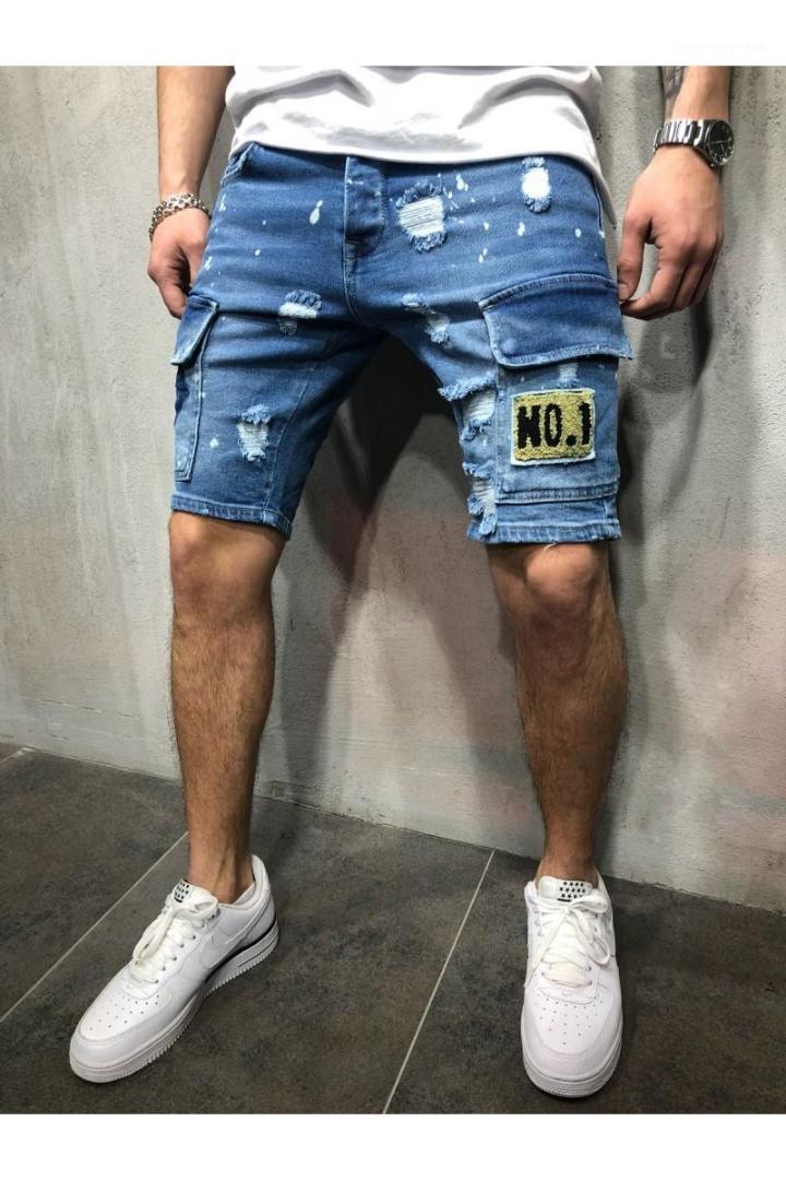 ثقوب السراويل الجينز أزياء الرجال الجينز سليم سروال مستقيم تريند مصمم رجالي السراويل الصيف جديد رجالي