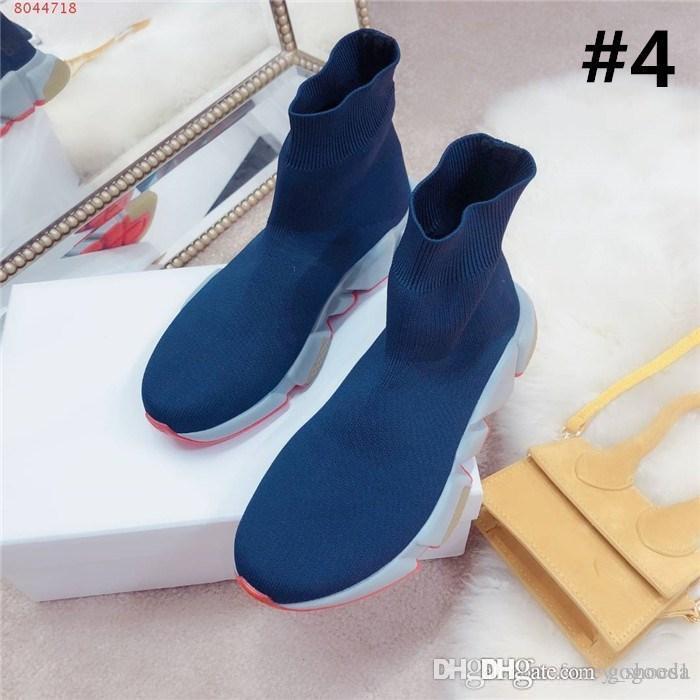 2019 Ladies outono / inverno tecer meias elásticas sapatos meias botas de alta espessura superior de fundo casuais pai sapatos meias botas Tamanho 35-39