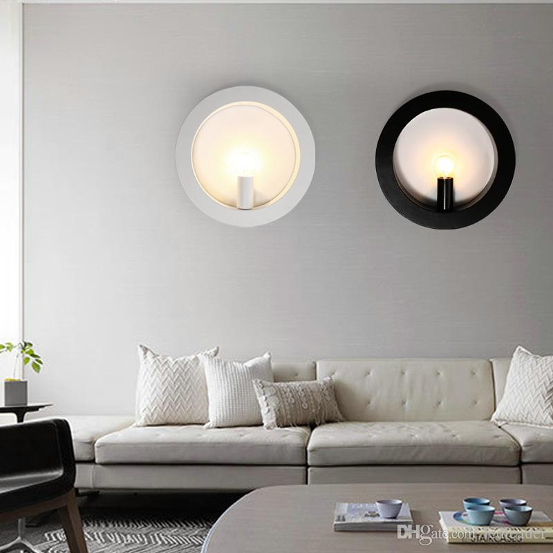 Bedroom bedside wall lamp wrought iron LED aisle corridor porch wall light modern minimalist living room square round lighting - I134