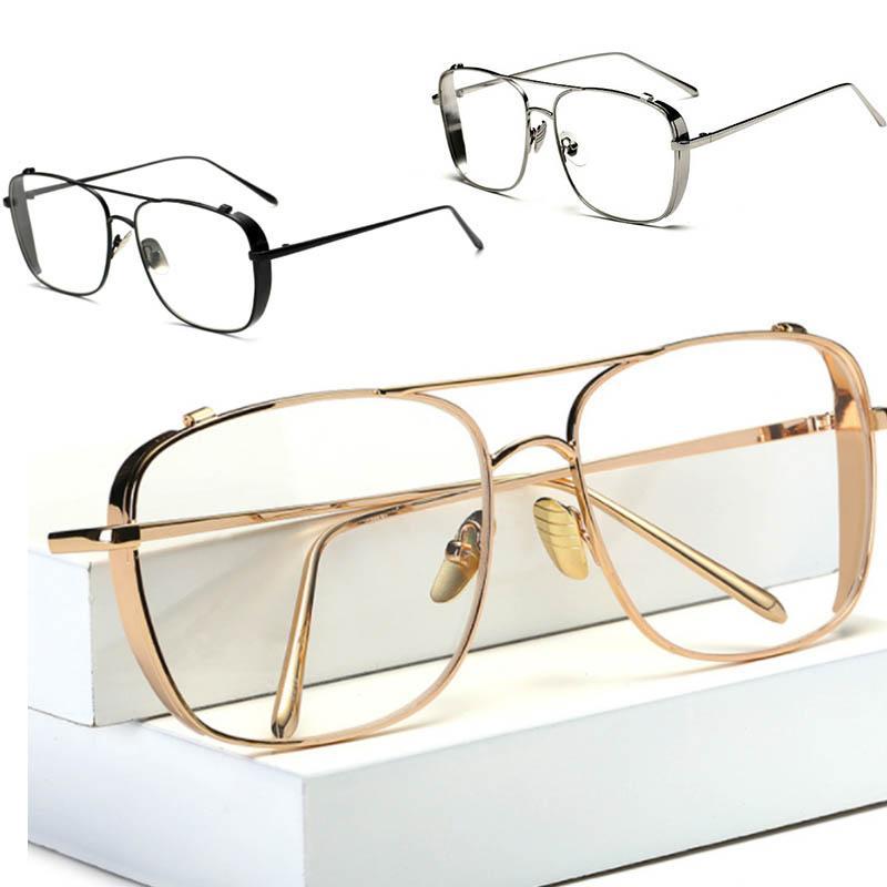 Оптовая 2021 Солнце Очистить объектив Золотые очки Полный Золотой Винтаж Урожай Дизайнер Роскошные Серебряные Мужские Горячие Рамки Мужчины Блестящие Для Солнцезащитные Очки Продают GLAS KECQ