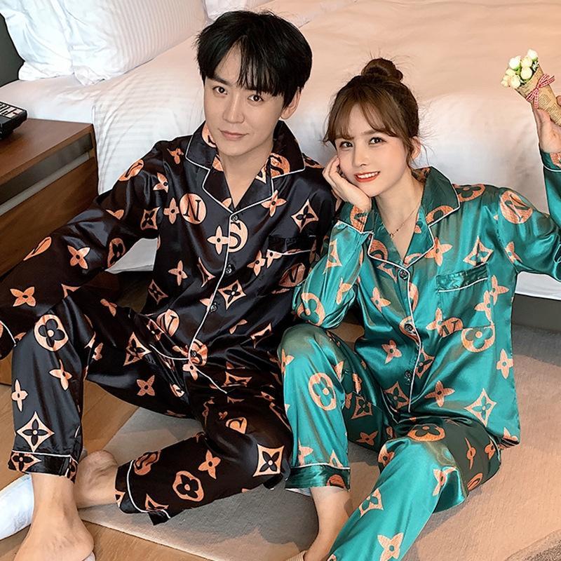 G1KkL Paar Eis Hülsenkleidung Pyjama zu Hause Sommer der Frauen-Pyjamas des Männer-Stil Seide Seide Frühling und Herbst dünne lange koreanische Hauptklage