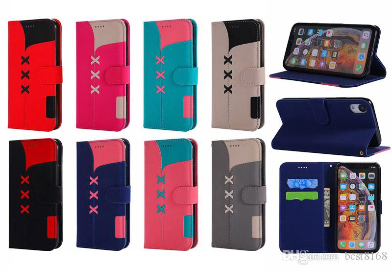 Hybrid PU Leather Wallet Case For Iphone XS MAX XR 8 7 Plus 6 Sony XZ4 Bicolor Hit Color ID Card Pocket Slot Holder Stand Phone Cover Luxury
