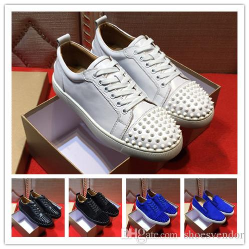 Cheap Mens Designer Shoes Black White C Low Cut Spikes Slip On Red Flats Shoes Bottom Luxury Suede Leather Shoes Party Fashion Men Sneakers