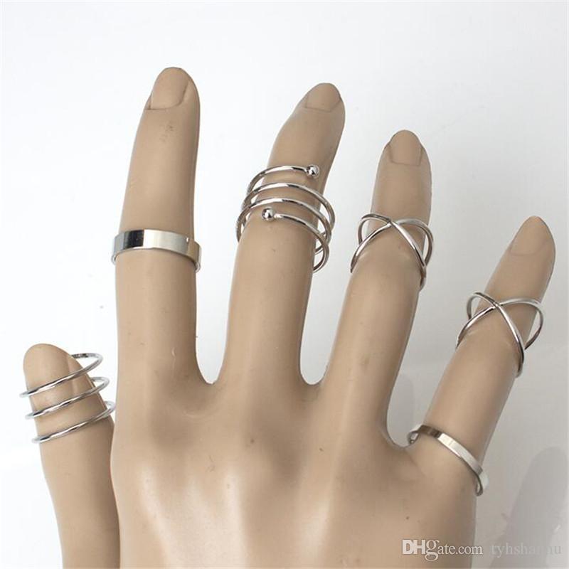 Einzigartige heißen Ring Set Punk Knöchel schellt für Frauen-Finger-Ring 6 PCS-Ring-Satz Bester Verkauf R41