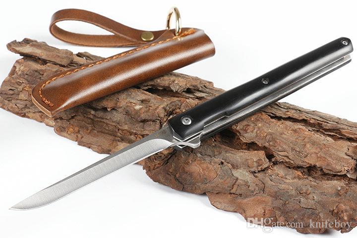 Envío rápido barato aleta plegable del cuchillo 440C punto de la gota de la hoja de madera de bola del satén de la manija Teniendo cuchillos con la envoltura de cuero