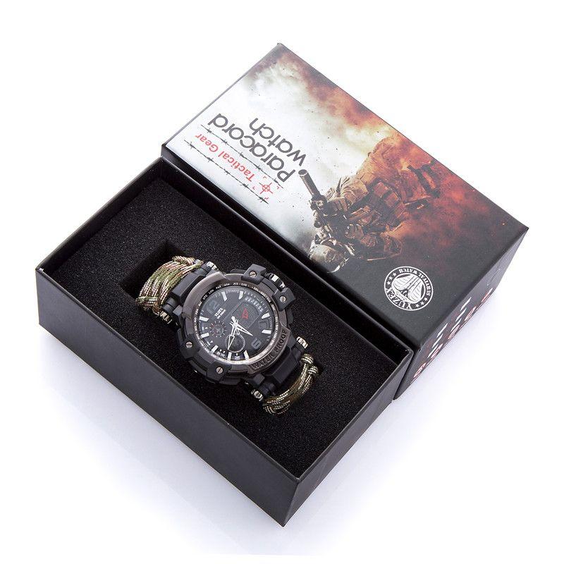 Новый Открытый Часы Выживания Браслет многофункциональный Водонепроницаемый 50 М Часы Для Мужчин Женщин Отдых Туризм Военная Тактическая Отдых На Природе