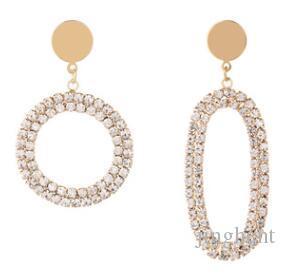 2019 new female accessories new copper earrings simple rhinestone claw chain asymmetric personality earrings round oval earrings