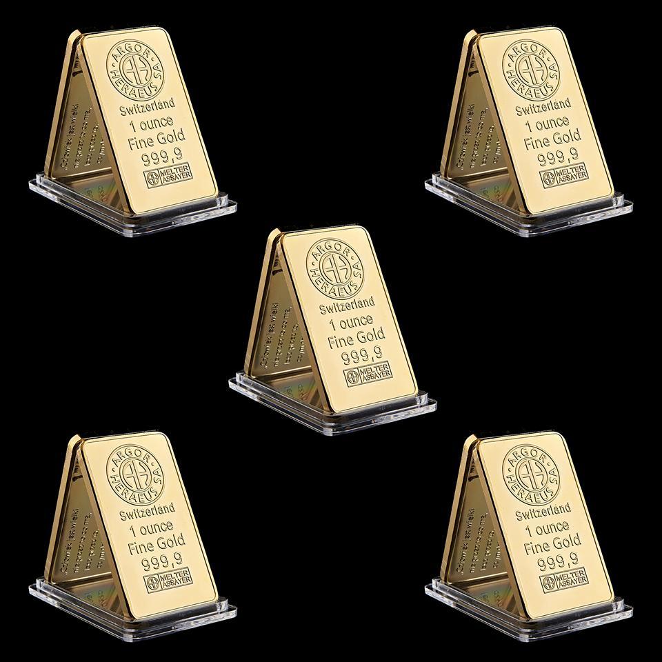 5 pz Swizerland 1oz Argor-Heraeus SA Placcato oro Placcato Bar Decorazioni per la casa Artigianato regalo d'affari da collezione