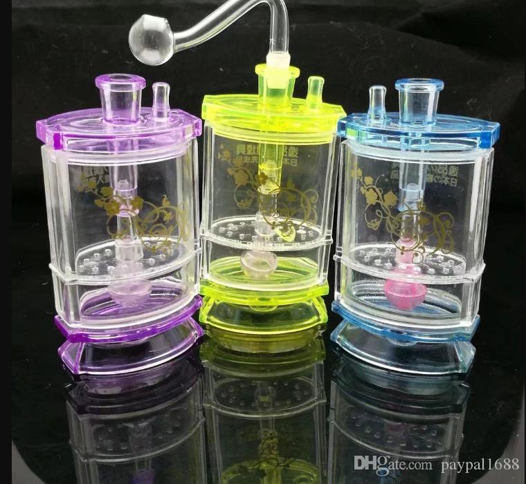 2019Double narguilé acrylique acrylique en verre Tubes de brûleurs à mazout verre d'eau bongs huile fumante gratuit Rigs