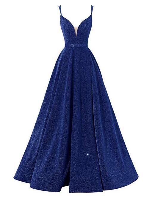 2.020 a V-Collo di spaghetti del vestito da sera in tessuto con paillettes pavimento-lunghezza abito convenzionale di promenade di banchetto abito Drop Shipping