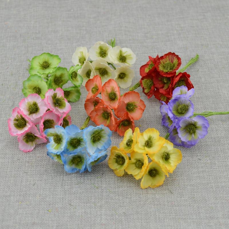 6pcs Fleurs artificielles à bas prix pour les fleurs scrapbooking maison décoration de mariage pour l'artisanat Étamines couronne bricolage mariée