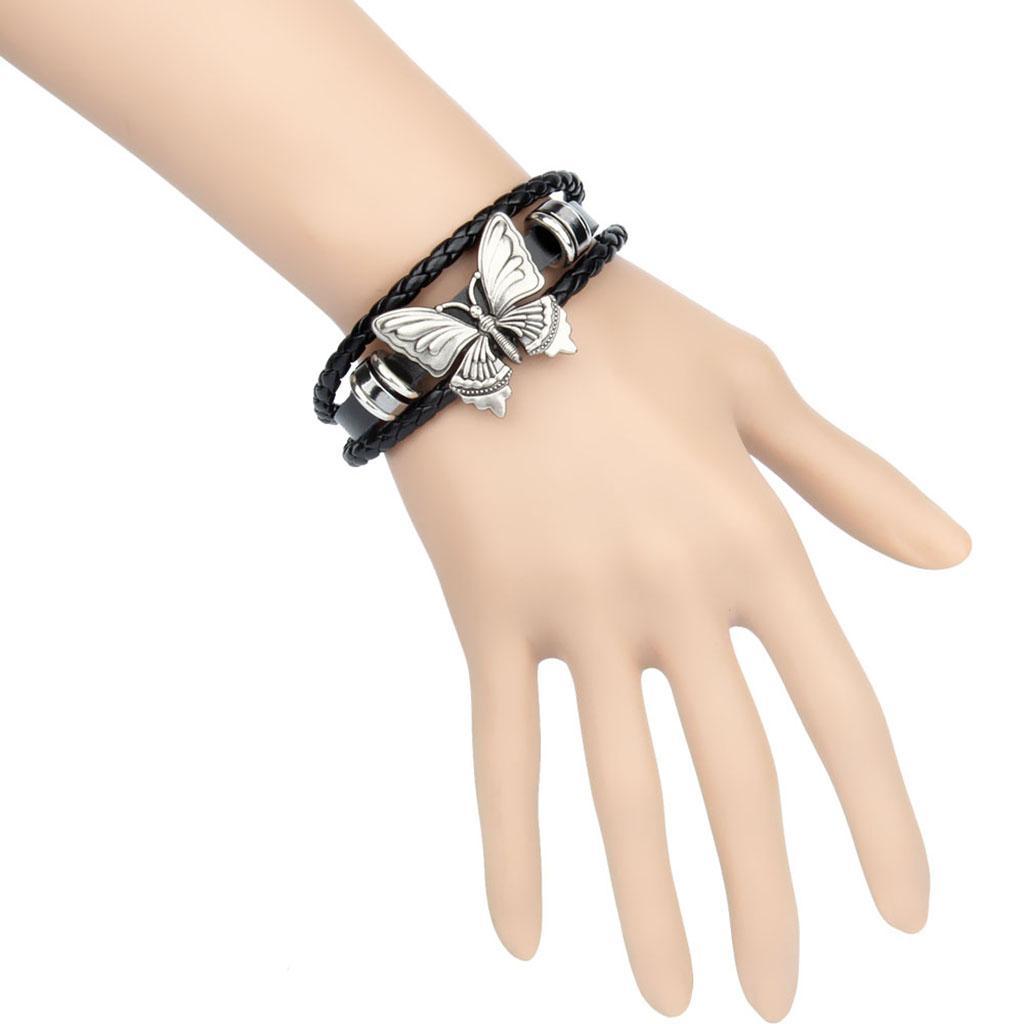 Gothic Punk Männer Frauen umsponnene PU-Leder-Armband-Stulpe-Armband-Armband
