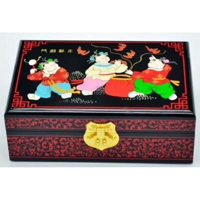 NEW Chinese handmade classic wooden lacquer & child 2 layers Jewelry box