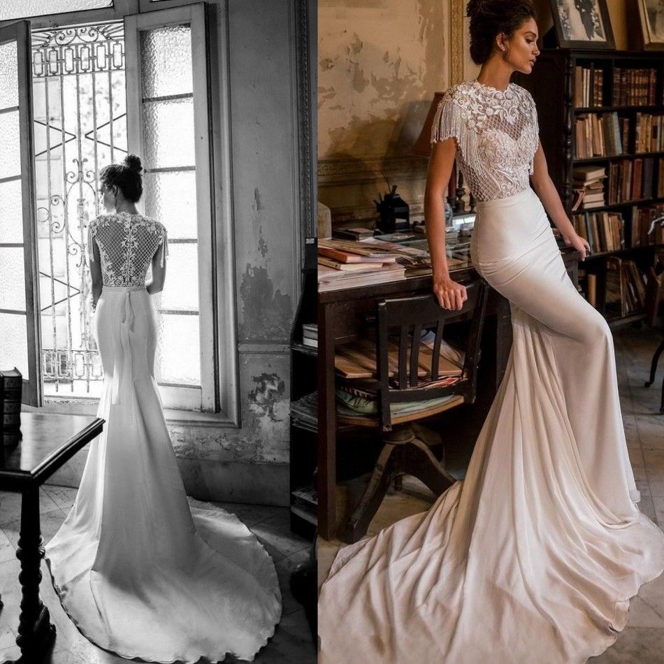 2019 Julie Vino Meerjungfrau Brautkleider Gericht Zug Sexy Jewel Neck Hohlkreuz Spitze Satin Perlen Perle Quaste Brautkleid Brautkleider