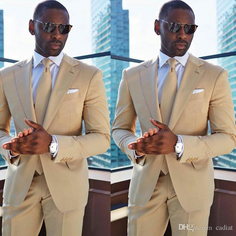 İş Damat Düğün için Yaz Champagne Erkekler smokin Groomsmen Kıyafetler Man giysileri 2piece Slim Fit Terno Masculino Kostüm Homme Takımları