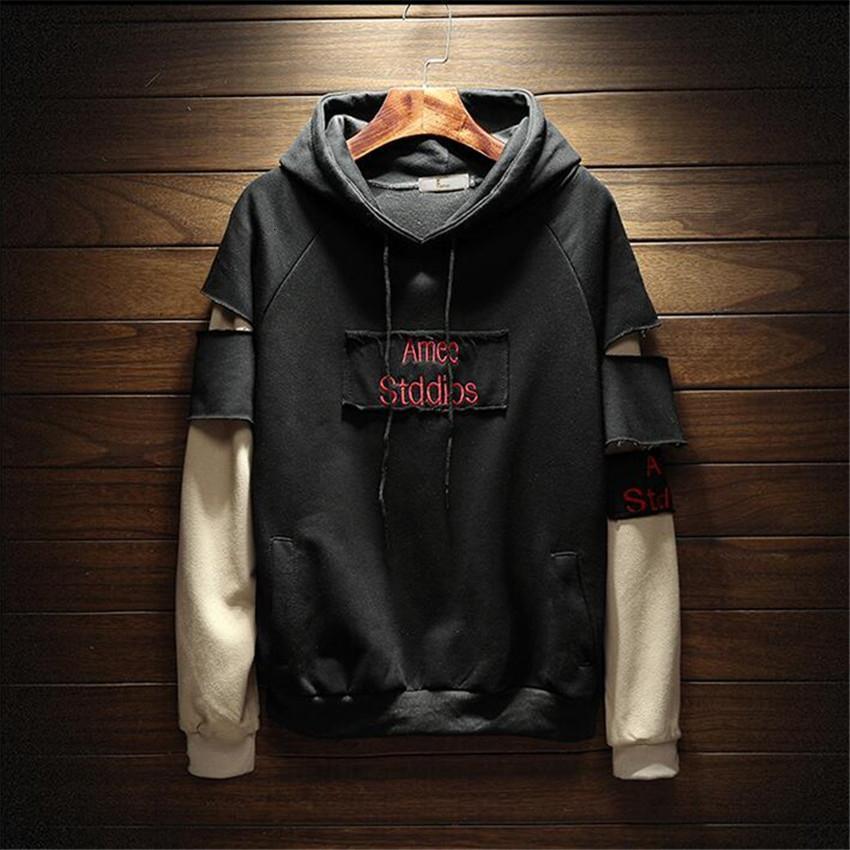 2018 новые мужчины толстовки Кофты Свободные большой размер мужская рубашка с капюшоном мужская мода Марка манжеты шить мужчины толстовки Письмо печати V191105