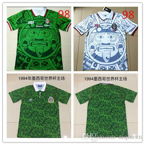 1994 1998 멕시코 국가 대표팀 RETRO VINTAGE BLANCO 클래식 축구 유니폼 98 94 멕시코 캄포스 헤르 난 데스 축구 셔츠 자수 로고