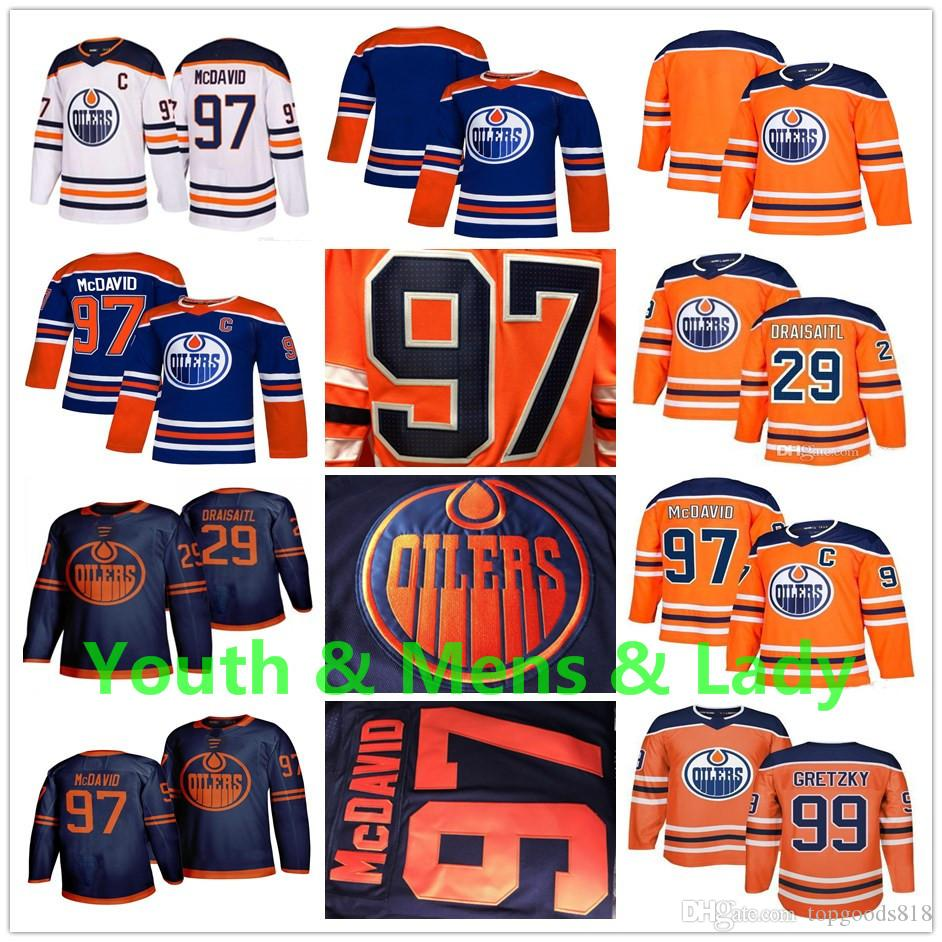 Juventude Mens Lady 2020 Third Edmonton Oilers Jersey Connor Mcdavid leon draisaitl Wayne Gretzky Navy Blue Orange Casa Fora Crianças Hockey Jerseys