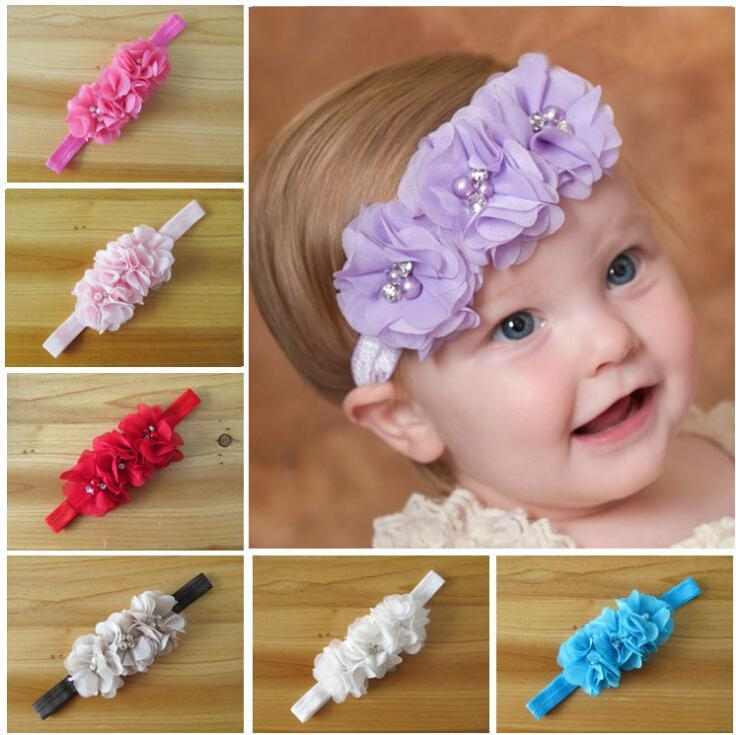 Wholesale -New Arrival Baby Toddler Head Flower Hair Accessories Chiffon Hand Sewing Good Beautiful Girl Headbands Headwear Kids Hair Band