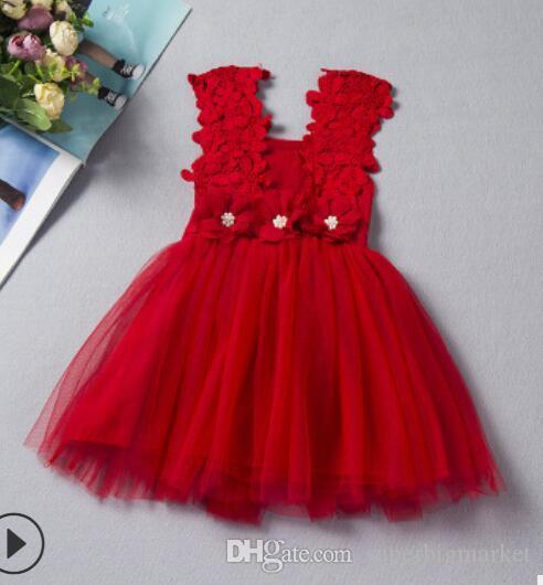 Filles Fleur Enfants Vêtements 2018 Été Mode Gilet sans manches en dentelle Tutu princesse robe de soirée KU-137