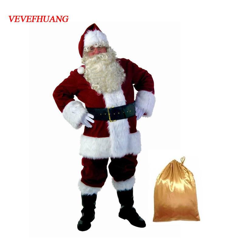 VEVEFHAUNG christmas santa claus costume for men women adult Fancy Cosplay Costumes Party red Suit Coat Pants Beard Belt Hat Set